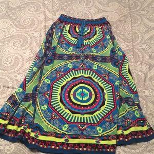 Tribal Print Tassel Boho Maxi Skirt